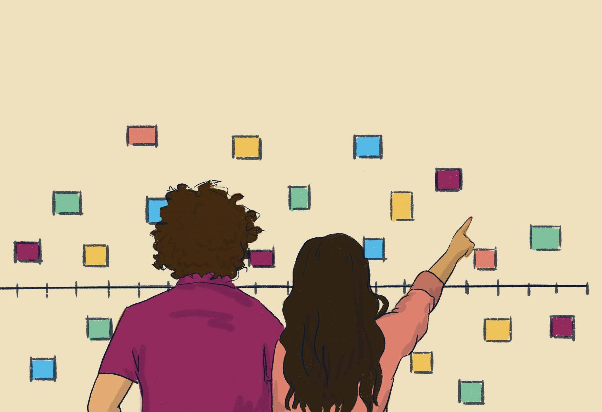 Two people putting sticky notes on a timeline.jpg
